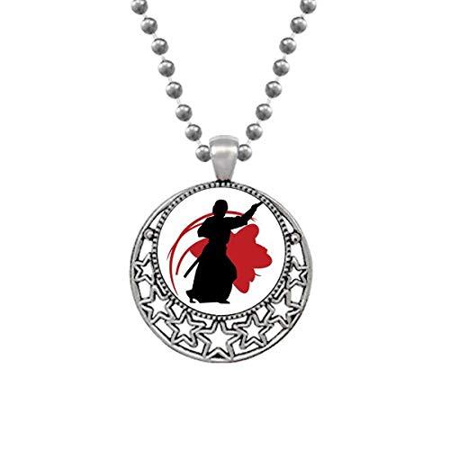 Halskette mit Anhänger, japanisch, Asien, Samurai, Katana, Sakura, Parry, Retro, Mond, Sterne, Schmuck