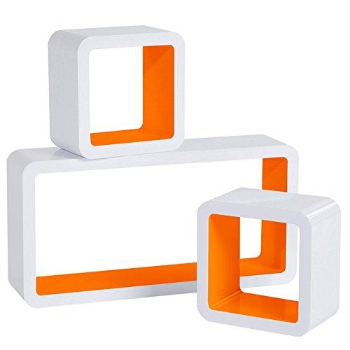 WOLTU Estantería de Pared Estantería Cubo Conjunto de 3 Estante Retro Colgantes CD Libreria Decorativo Baldas Flotante Pared Naranja/Blanco RG9229or