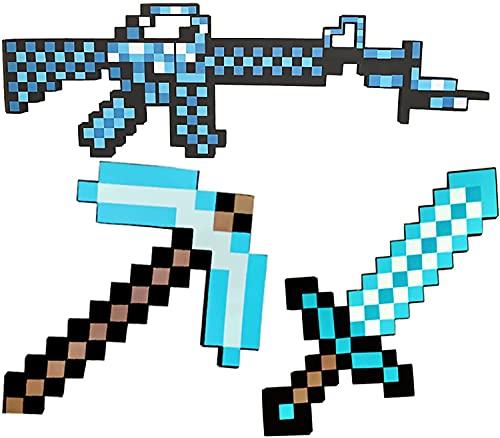 Minecraft Diamond Sword/Shield/Pickaxe/Pixel Axe/Pixel Shovel/Subfusil/Ametralladora/Pixel Gun/Espada de Juguete de Espuma para niños, Juego de simulación de Espada para niños