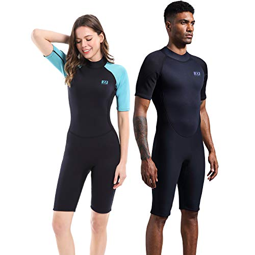 Dark Lightning Men's and Women's Shorty Wetsuit, 2mm Premium Neoprene Wet Suit to Keep Warm,One Piece Jumpsuit for Paddle, Diving,Surfing, Snorkeling,Fishing (2mm Shorty Wetsuit, Men's X-Large)