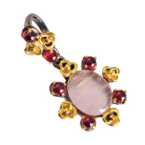 Rose Quartz & Garnet 925 Sterling Silver Pendant Necklace Fashion Jewelry for Women