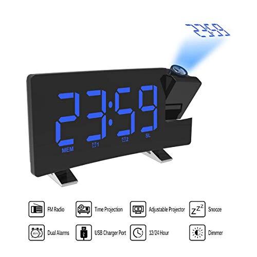 YYZCM Digitaler FM-Radiowecker mit Projektion 4 Alarmtöne 9 Min. Schlummerfunktion Sleep Timer Für das Home Office Schlafzimmer