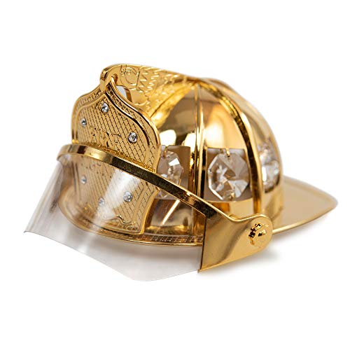 Mascot Gold Plated Firefighter Helmet with Embedded Clear Swarovski Crystal | Firefighter Ornaments Christmas, Best Gift for Father's Day, Birthday, Firefighter First Responder Appreciation