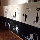 Simpatici adesivi murali gatto set di 5 simpatici adesivi murali in vinile gatto carino Decorazione astratta gatto figa alta 24 cm