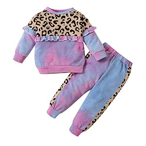 Verve Jelly Camiseta de leopardo de manga larga con teñido anudado para bebé, niño y niña, Tops + Pantalones, conjunto de dos piezas, ropa de otoño e invierno, púrpura 110 3-4 años