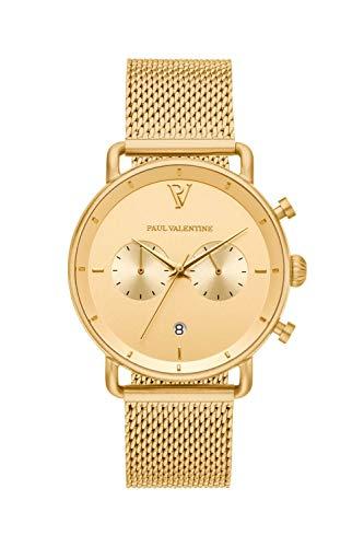 PAUL VALENTINE ® Herrenuhr mit Mesh Armband aus hochwertigem Edelstahl - Mit Saphirglas - 40 mm Durchmesser - Edle Herren Uhr mit japanischem Quarzwerk - Armbanduhr für Herren