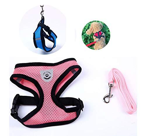 Atmungsaktives Geschirr mit Leine für Chihuahua Yorki Welpen | Schwarz Pink Rot Blau | Verstellbar Sichere Kontrolle Reflektor | Welpengeschirr Weste Brustgeschirr Luftdurchlässig Hund Katze (Pink)
