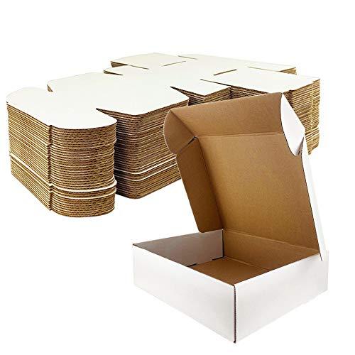 Giftgarden Caja de Cartón Kraft 17.8x12.7x5.1cm, Color Blanco, Cajitas de Carton Corrugado para Envíos, 25 Unidades