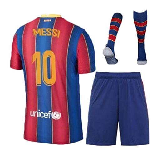 Barcelona Messi Home Blue Home 20/21 Children Jersey + Shorts + Socks Kids Set Youth Size Medium (6-7 Years Old)