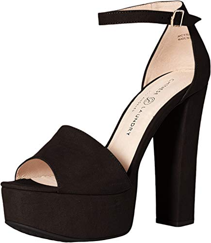 Chinese Laundry Women's Avenue 2 Heeled Sandal, Black Suede, 5.5 M US