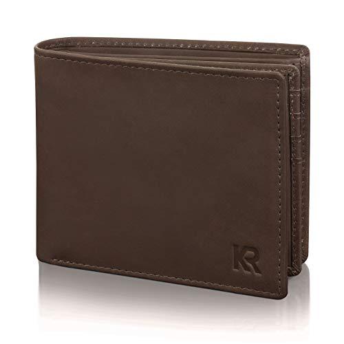 KRONIFY Billetera de Cuero de Búfalo Billetera para Hombres Billetera de Cuero Marrón para Hombres Protección NFC