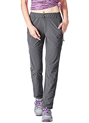 Rdruko Women's Waterproof Lightweight Climbing Travel Work Cargo Pants(Dark Grey, US XL)