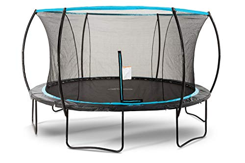 SkyBound Cirrus 14 Foot Trampoline with Safety Enclosure Net - Rated for Kids and Teens, Black and Blue