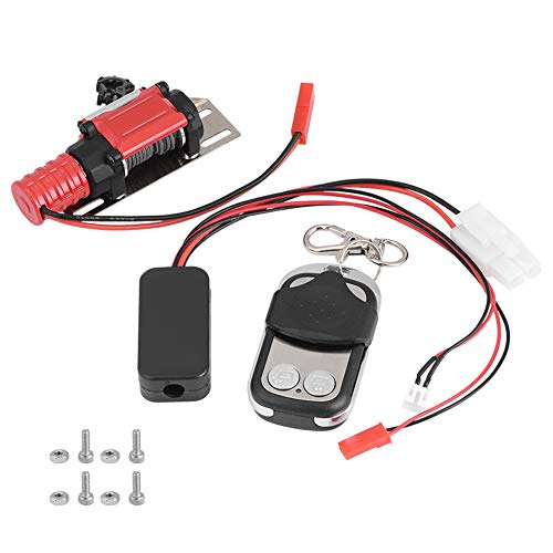 Dilwe RC Car Winch RC Model Vehicle 1/10 Scale Crawler Car Accessory Metal Winch with Remote Controller