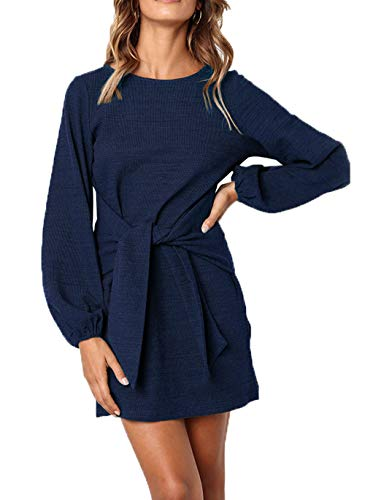 PRETTYGARDEN Women's 2019 Casual Short Sleeve Party Bodycon Sheath Belted Dress with Pockets (Z-Navy, Small)