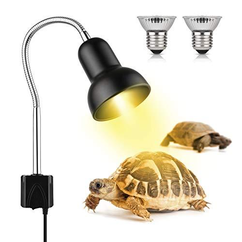 Lámpara para Tortuga, Lámpara de Calor de Reptil con 2 Bombillas de Luz Solar UVA UVB de 25 W, Iluminación de Calor Lámparas con Soporte,Lámpara de Abrazadera para Acuarios con Pinza giratoria de 360°