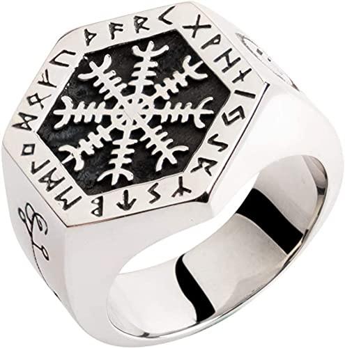 Hombres Hombres Compass Vegvisir Anillo, Mitología Nórdica 316L Acero Inoxidable Vikiny Rune Jewelry, Amuleto de Rock Nordic Hip Hop (Color : Silver, Size : 9)