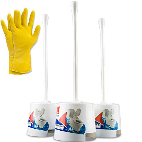 Temples Pride 4 Pack Toilet Bowl Scrubber Brush and Holder with Free Gloves - White Bathroom Bowl Cleaner Toilet Brushes Set with Holders - Eco-Friendly Cleaning