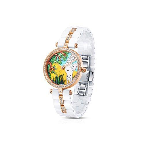 Time100 Orologio ceramica donna bianco serie di animale#W50352L (Pappagallo)