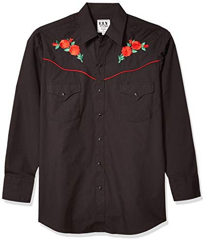 ELY CATTLEMAN Men's Long Sleeve Western Shirt with Rose Embroidery, Black, M