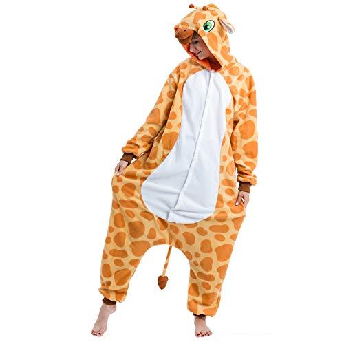 Spooktacular Creations Unisex Erwachsene Plüsch Pyjama Schlafanzug, Damen Herren Onesie Jumpsuit Giraffe Tier Kostüm Halloween Karneval Kostüm
