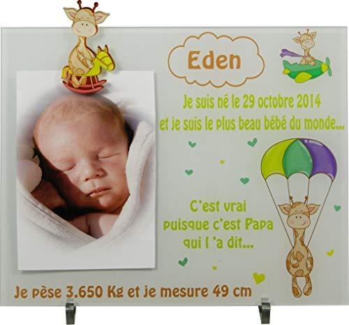 Cadre Photo Naissance - Cadeau de Naissance personnalisé avec le prénom du bébé – idéal pour la liste de naissance – pour fille ou garçon – Kd-Y