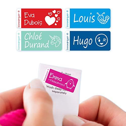 Etiquetas personalizadas para pegar en la etiqueta de la ropa (18+ etiquetas) - Bienpegado, tamaño: 30 x 12 mm. Resistentes a lavadoras y secadoras, no se destiñen.