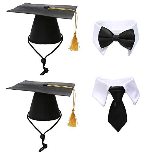 Lamphyface Pet Graduation Caps with Bow Tie Necktie Collar Dog Graduation Hats Accessory Costume for Dogs Cats