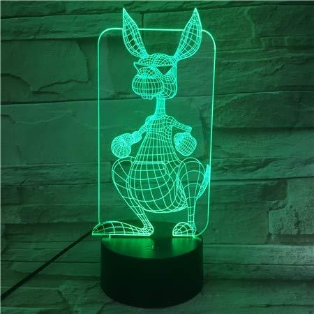 Animal de Dibujos Animados Canguro Visual lámpara de Mesa Cambio de Color Dormir luz de la Noche Directamente