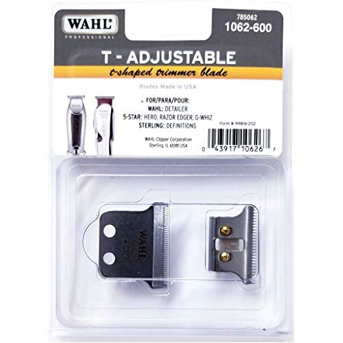 Wahl T-Adjustable T-Shaped Trimmer Blade for Detailer, 5 Star Hero, Razor Edger, G-Whiz, Sterling Definitions #1062-600
