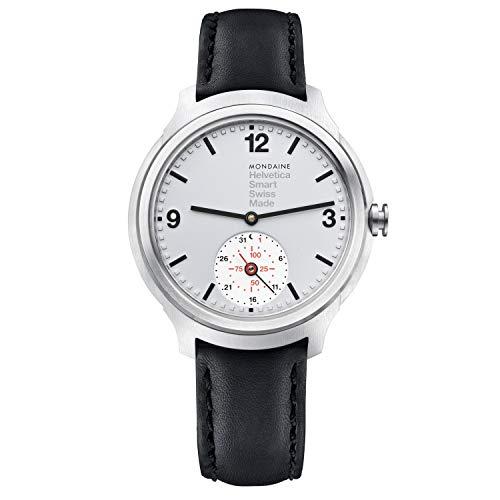 Mondaine Helvetica Smartwatch - Orologio con Cinturino Nero in Pelle per Uomo e Donna, MH1.B2S80.LB, 44 MM.