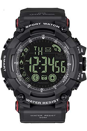 Smartwatch Herren Sportuhr Wasserdicht IP68 Schwimmen Schrittzähler Kamera Bluetooth Fitness Tracker Armband Sport IOS Android Kompatibel Schwarz