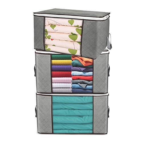 Bolsas de almacenamiento grandes, paquete de 3 cubos de almacenamiento de ropa, organizadores de armario, contenedores de almacenamiento con asas duraderas, tela gruesa