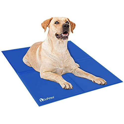 GoPetee Dog Cooling Mat Self-Cooling Pad Non-toxic Gel Summer Sleeping Bed Comfort for Small Large Dogs Pets Cats Puppy Bed Sofa (XL - 81 * 96CM, Pure Blue)