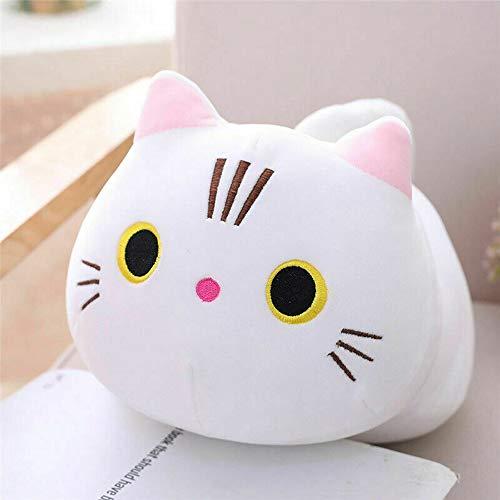I3C Juguete de peluche de dibujos animados Almohada de gato lindo gatito muñeca novia regalo de cumpleaños para uso personal en el hogar y la oficina (blanco)