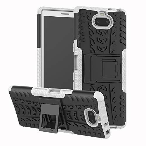 Ebogor para Para la Caja de Sony Xperia XA3, la Textura del neumático TPU + PC Funda Protectora a Prueba de Golpes con el Titular (Negro) (Color : White)