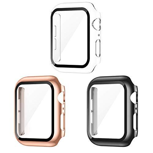 Paquete de 3 fundas con protector de pantalla de vidrio templado para Apple Watch 40 mm Series 6/5/4/SE, protector delgado, cobertura completa, HD, ultradelgada, compatible con iWatch de 40 mm