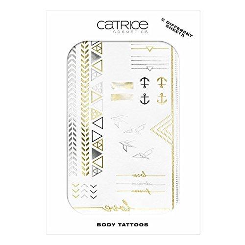 Catrice cosmetics Edition limitée Body Tatoos Tatouage éphémères pour le corps et les cuticules, contenu : 2 feuilles, n°C03 Signs of Simplicity.