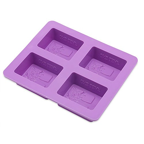 Four Holes Silicone Rectangular DIY Soap Mold Tree Solid Soaps Handmade Box Multifunction Making Tool
