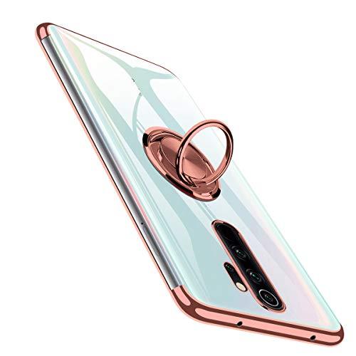 BOMIZI Hülle für Redmi Note 8 Pro, Transparent TPU Dünne Schutzhülle Weiche Silikon Case Handyhülle mit 360 Grad Ring Stand für Magnetische Autohalterung, Stoßfest Klar Note8Pro Cover - Roségold
