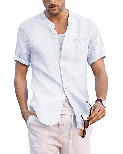 Taoliyuan Mens Linen Banded Collar Shirts Short Sleeve Button Down Casual Summer Beach Loose Fit T Shirt