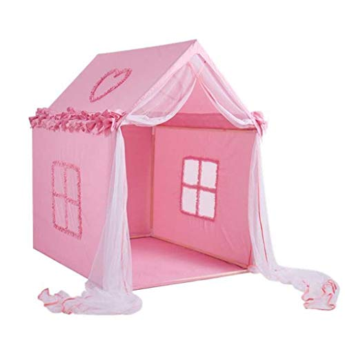 XUZg-wFence XZGang Girl's Tent Castle, Indoor Pink Playhouse with Fold Decoration, Bedroom Sleeping Tent - Play Tent - Reading Corner Children's space (Color : Pink, Size : 100 * 125 * 140CM)