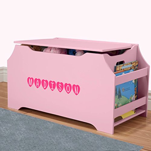 DIBSIES Personalization Station Personalized Dibsies Kids Toy Box with Book Storage - Girls (Pink)