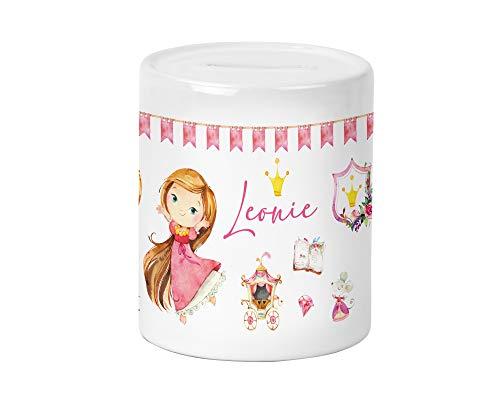 Yuweli brünette Prinzessin Kinder-Spardose für Mädchen mit Namen personalisiert zur Einschulung Taufe Geburtstag Geburt Sparschwein Geldgeschenk
