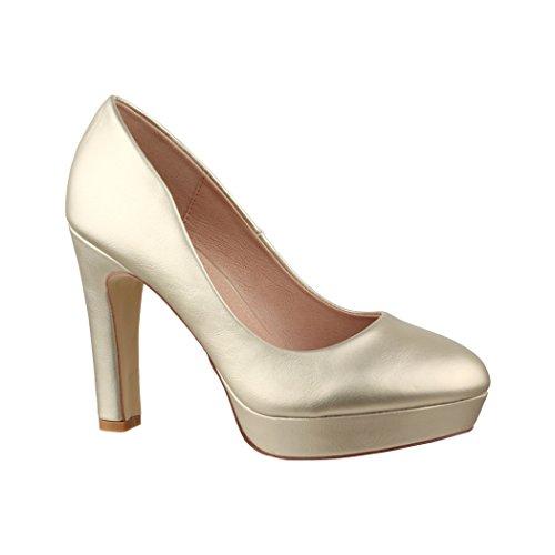 Elara Jumex Damen High Heels Schuhe Plateau Pumps Chunkyrayan E22321 Gold-40