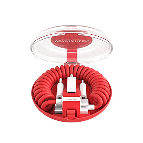 VONMÄHLEN allro&o All-in-One 6-in-1 Ladekabel mit 5 Anschlüssen - Micro-USB, USB-C - Für Handy und Mobile Endgeräte - Kompatibel mit iPhone, Samsung etc. (Rot)