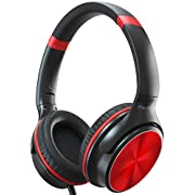 PeohZarr Headphones with Microphone, Over Ear Headphones with Sound Sharing Function, 3.5mm Tangle-Free Foldable & Portable Wired Headphones for Home Office Travel MP3 Kindle Phone Laptop