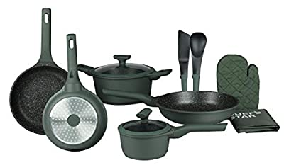Chef's Star Professional Grade Die Cast Aluminum Cookware Set, Non Stick Pots and Pans with Soft Grip Bakelite Handle,Suitable For All Cooktops-Includes Oven Gloves and Apron-12 piece (Green)