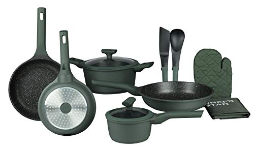Pots and Pans Non Stick Cookware Set; Best Skillet Pan for Cooking and Saute; Professional Grade Die Cast Aluminum, Set of 12, Green by Chef's Star