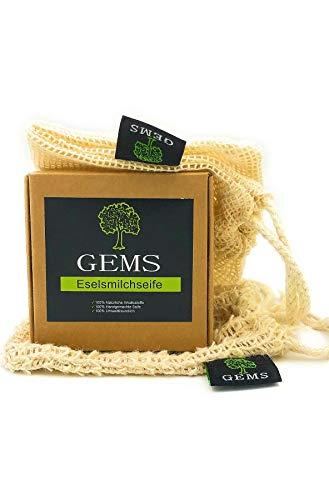 GEMS Eselmilch Seife Set, Seife + Sisal Seifensäckchen + Reisebeutel, Naturseife, Handmade, Naturprodukt, ca. 140g